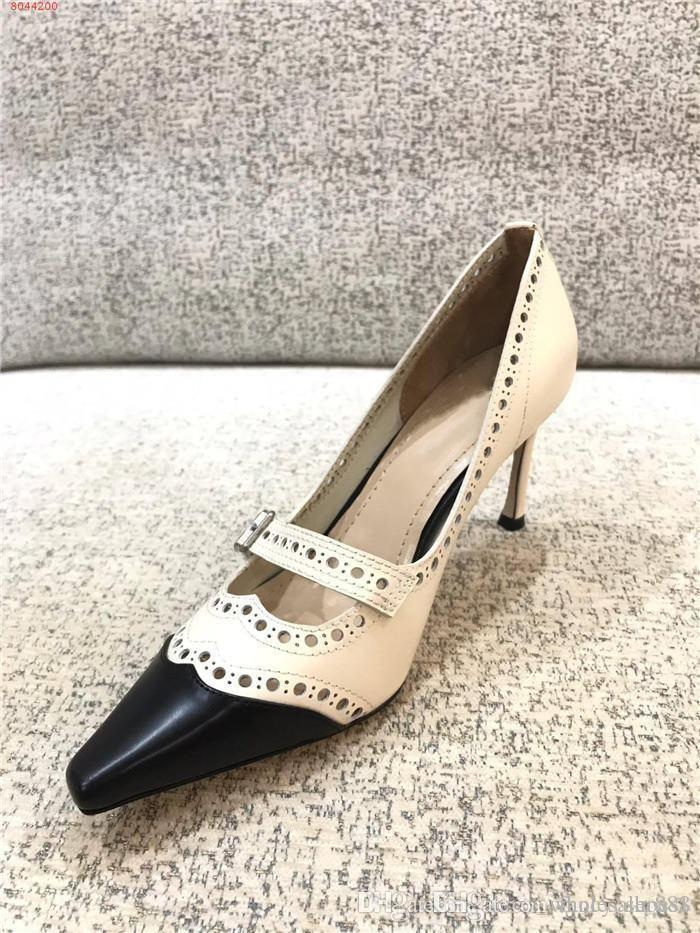 coupe-circuit classique à deux tons haute sandales en cuir à talons talons formels chaussures robe de mariée de robe de soirée d'affaires, avec emballage de boîte à chaussures véritable