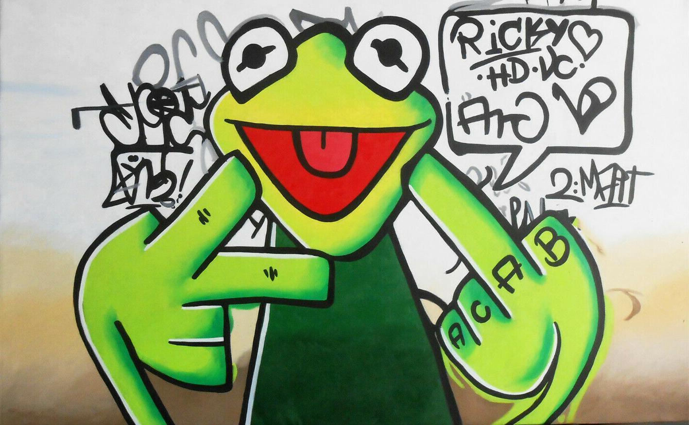 KUNST-ÖLGEMÄLDE MODERN ABSTRACT Happy Frog Hauptdekor handgemaltes HD-Druck-Ölgemälde auf Leinwand-Wand-Kunst-Leinwandbilder 200706