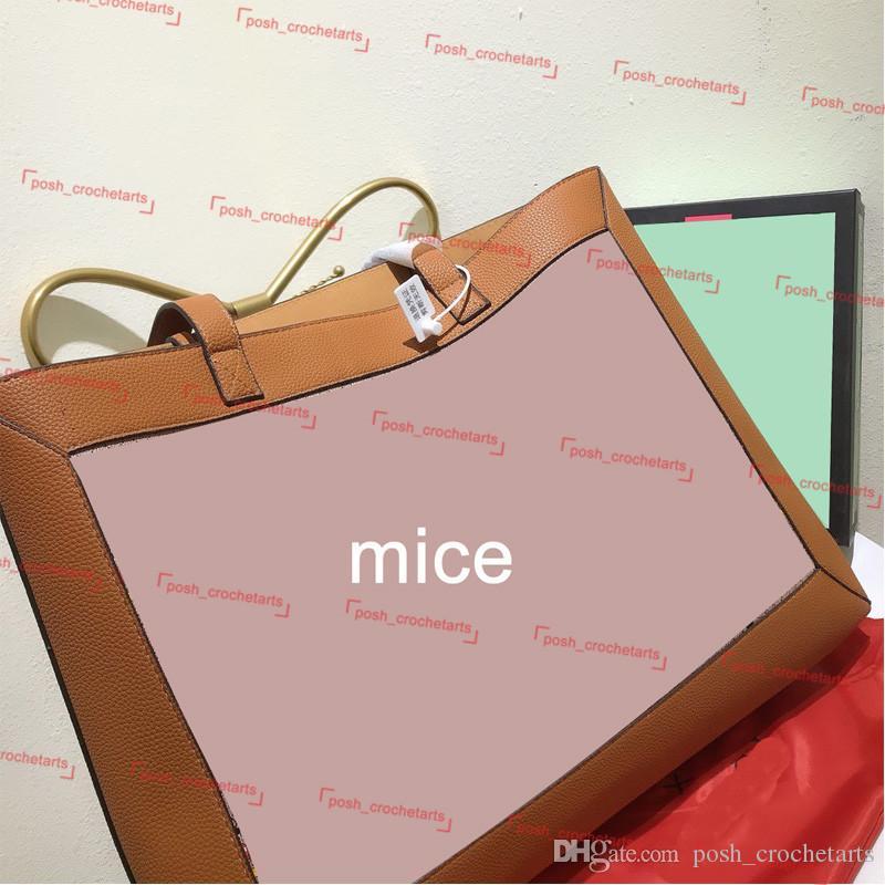 Tote de ratón a juego con ratones de cuero de la bolsa de cuero Tote Diseñador genuino con para el bolso de bolsos de lujo Bolso de diseño MUJER MUJERES B AJEV