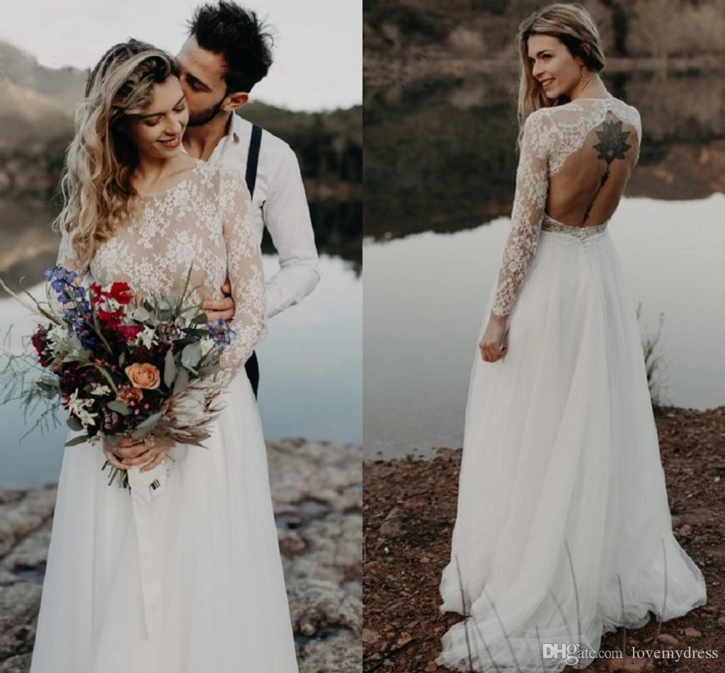 2019 Illusion Long Sleeve Country Wedding Dresses Boho Lovely Lace Jewel Keyhole Backless Tulle Beach Wedding Dress Bridal Gowns Beach Wedding Dresses