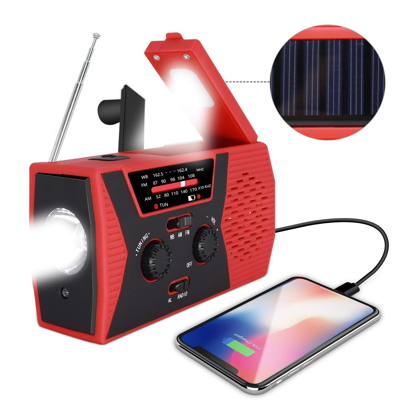 2019 نسخة مطورة من الطوارئ الراديو شمسية اليد، والطقس NOAA الراديو الطوارئ AM / FM، مصباح يدوي الصمام القراءة الخفيفة المحمول طاقة بطارية 2000mAh