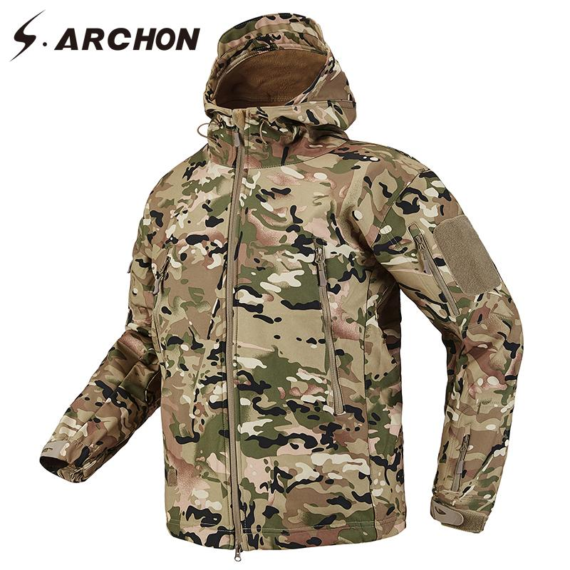 S.ARCHON Shark Skin Soft Shell Tactical Military Jacket Men Руно Водонепроницаемые Army Одежда Multicam Камуфляж ветровок Мужчины T191102