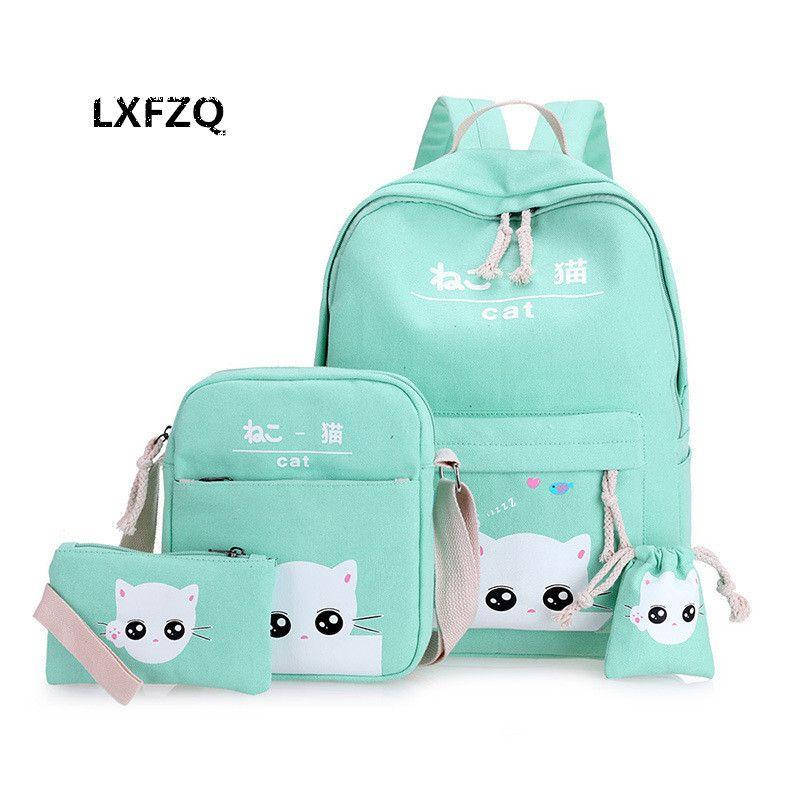 Schulranzen-Schultaschen 4 Satz / Pcs Schule-orthopädische Schulranzen-Rucksäcke für Kinderschultasche für Mädchen Mochilas Escolares Infantis