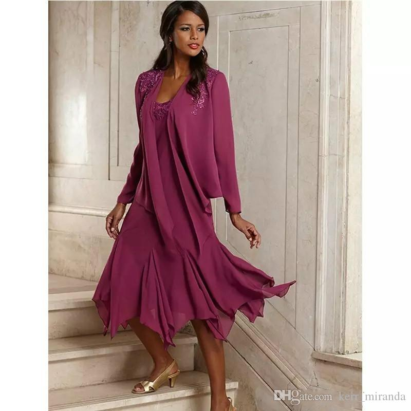 Vintage Plum Elegant Chiffon Appliqued Plus Size Mother Of The Bride Dresses With Jacket Tea Length Groom Pant Suits Gowns For Weddings