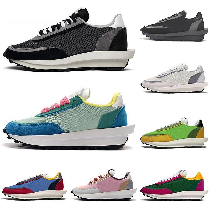 Wholesale luxury designer Sacai LDV Waffle running shoes men women LDWaffle Black White pine Green Gusto Varsity Blue mens trainers sneakers