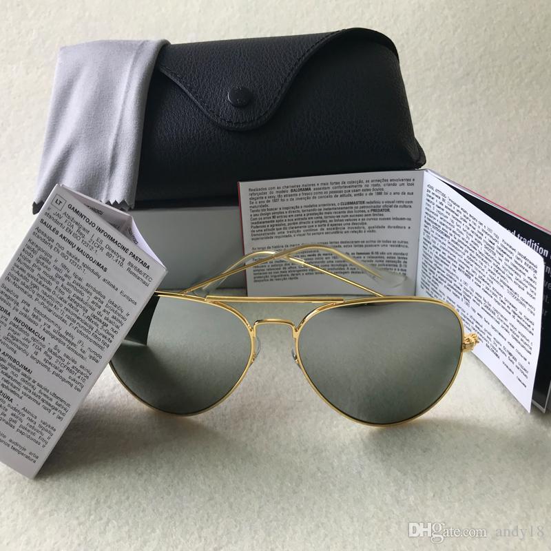 مصمم العلامة التجارية الجديدة الطيار النظارات الشمسية للنساء رجال أوتدوورسمن نظارات شمسية نظارات الذهب براون 58mm و62mm والعدسات الزجاجية مع حالات 18 لونا