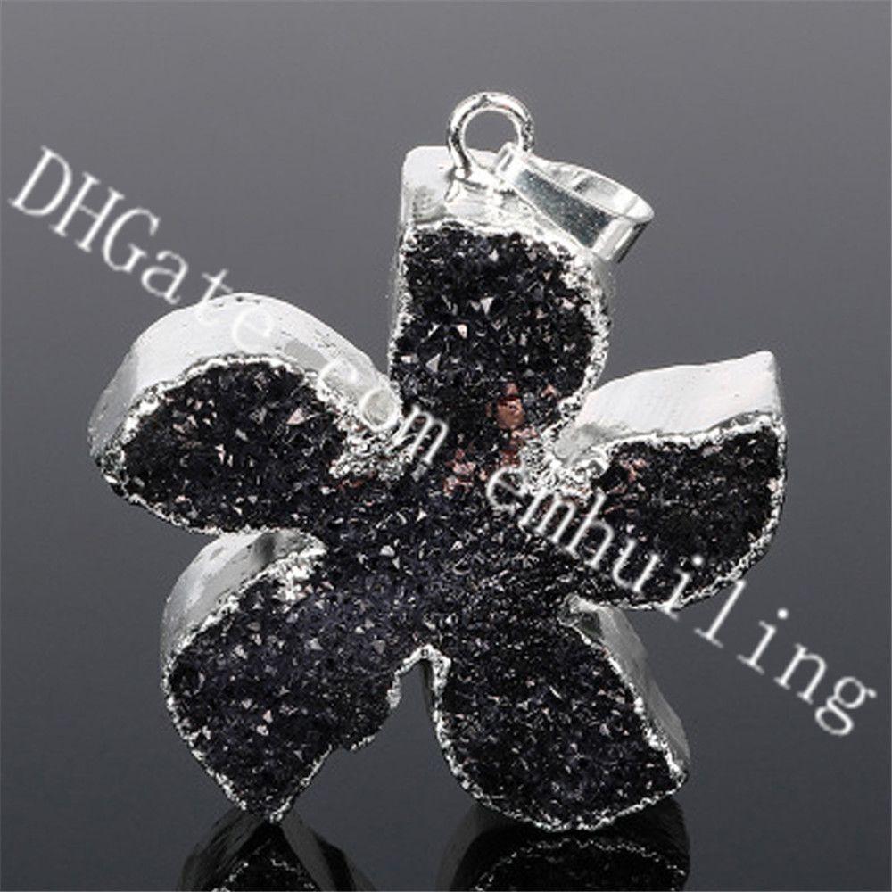 10 Pcs 37 * 32mm Estrela de Prata Banhado A Ágata Preta Druzy Drusy Pingente De Cristal De Cinco pontas-Star Forma Raw Black Geode Stone Charme Pingente de Quartzo
