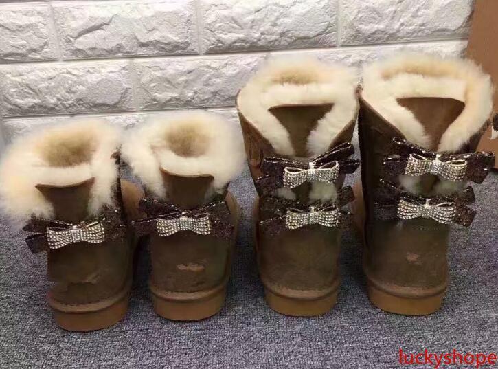 Clásico Australia WGG sola doble diamante nieve botas de piel femenina de invierno arco de diamantes de imitación de la corona caliente zapatos gruesos de algodón