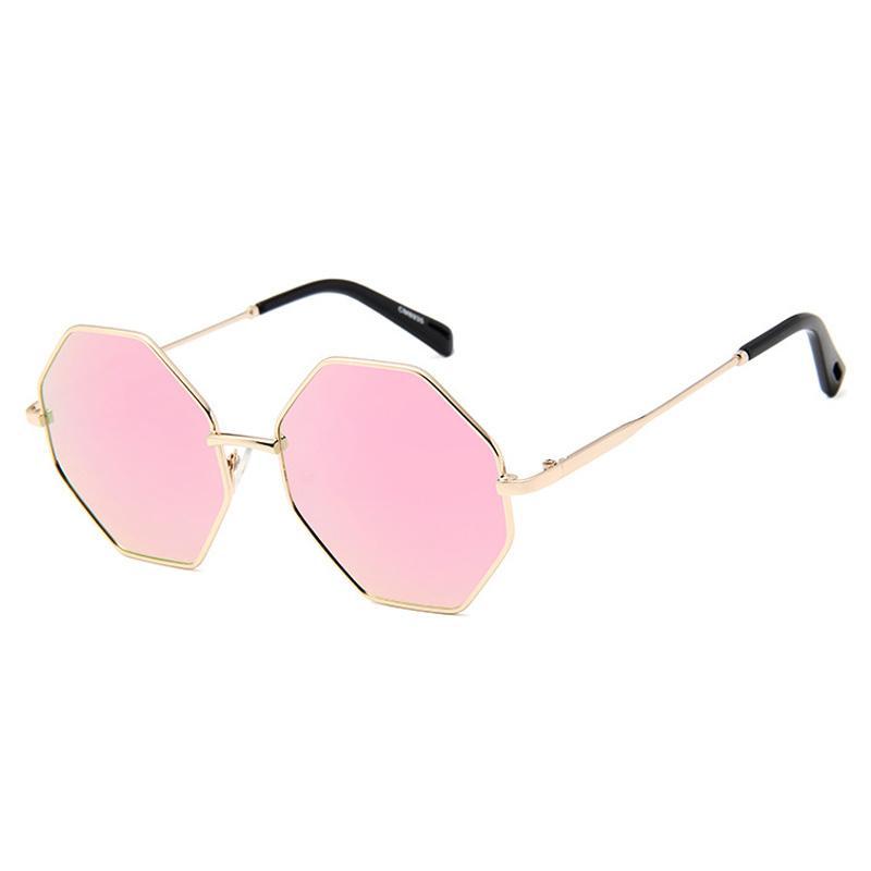 Miroir Brand Sunglasses Lunettes de soleil Femmes Classique Nouveau Verre Mode octogonale Femmes Designer Hommes UV400 Rond Lens FUPKD