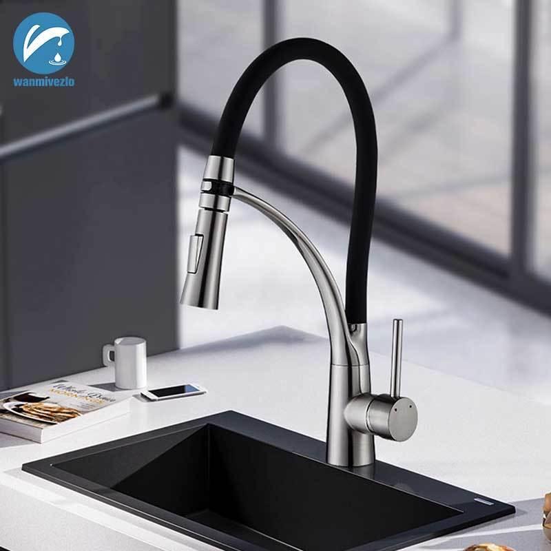 Gebürstetem Nickel Pull Down Küche Waschbecken Swivel Wasserhähne Mixer