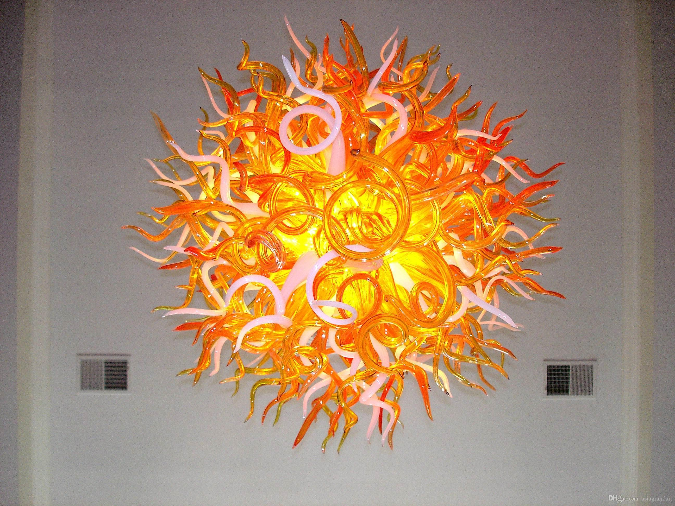 100٪ الفم في مهب CE UL البورسليكات زجاج مورانو كيلي دايل الفن صن شاين الزجاج الحديثة قلادة الثريا