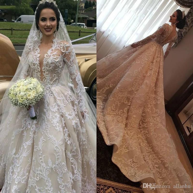 2020 Роскошные Шампанское Дубай линия Свадебные платья Длинные Поезд V шеи Великолепная Pearls кружева с длинными рукавами Свадебные платья Customized