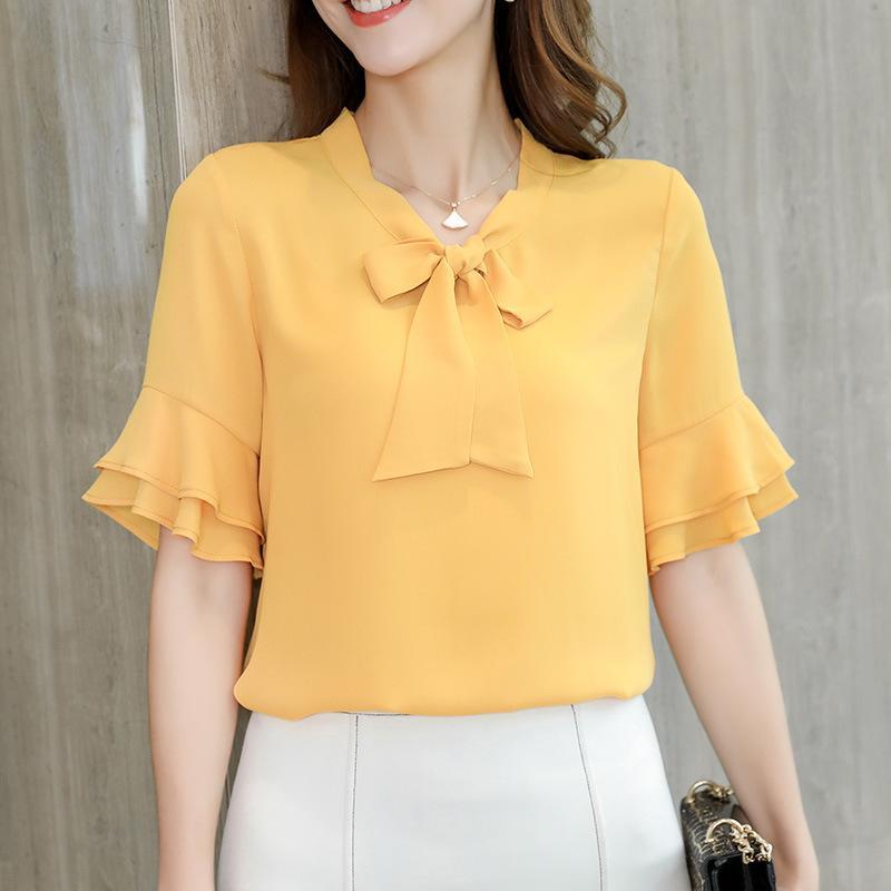 Spiksplinternieuw 2020 Zomer 2019 Casual Vrouwen Shirt Koreaanse Half Mouwen Elegant VK-98