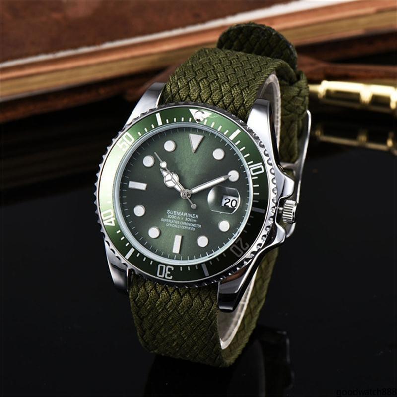 Luxe Mode 40mm Nylon Weave bracelet montre de sport de haute qualité en alliage luxe Dial Quartz Montres watcesgo88 Quartz gros hommes