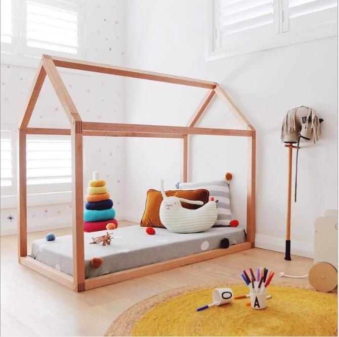 Letti A Terra Per Bambini.Acquista Ins Nordic Wind House Bed Letti In Legno Camerette