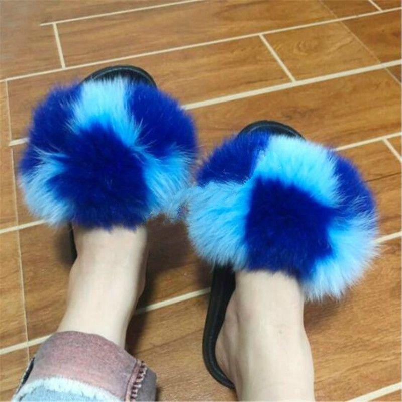 Frauen-Winter-Plüsch-Hausschuh Echt Fox Haar Sandalen Frau flauschiges Fell Slides Dame-nette Furry Pelz-Schuhe Weiblicher Pelz Flipflops