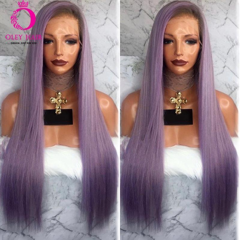 OLEY cheveux ondulés ombre violet dentelle synthétique en dentelle synthétique frontale perruque résistante à la chaleur perruque droite tressée droite pour femmes noires