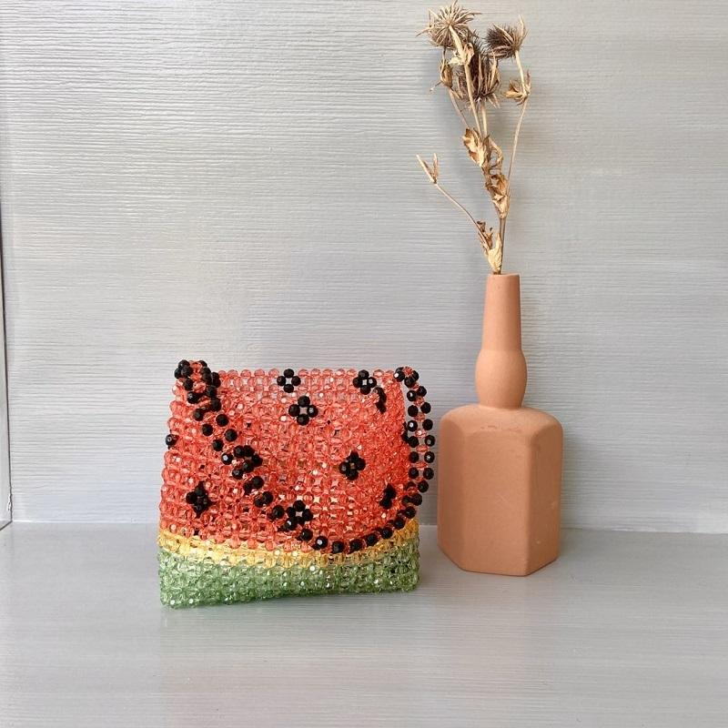 Watermelon Beaded Bag Children Woven Handbag Acrylic Pearl Summer Busket for Women 2020 Ladies Hand Shoulderbag