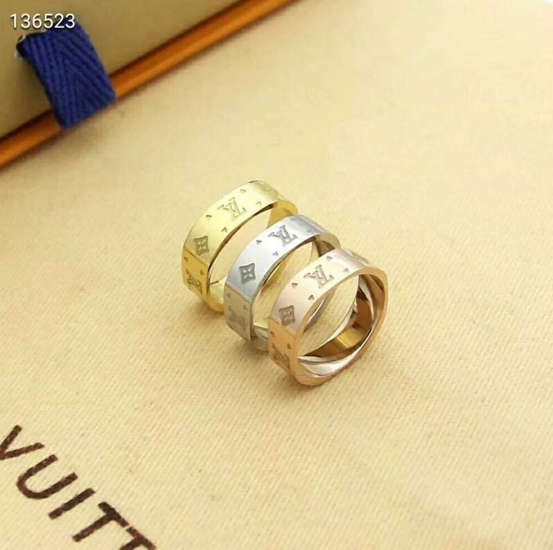 New Designer Wedding Rings for Lovers Designer Brand 3 colors Ring Old Flower Letter Style Engagement Ring for Women Men Jewelry Gifts
