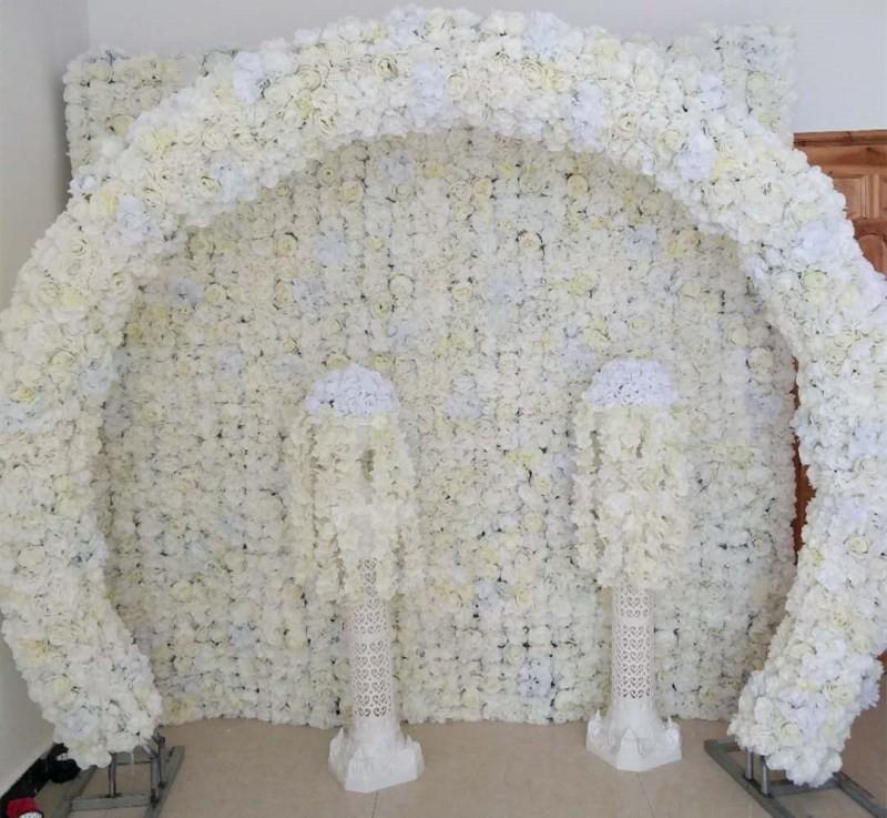 الوردة البيضاء الفاوانيا كوبية صفوف زهرة جديدة مع حلقة مستديرة الأقواس مجموعة الإطار لحزب الحدث مول تجهيزات الفنادق حفل الافتتاح
