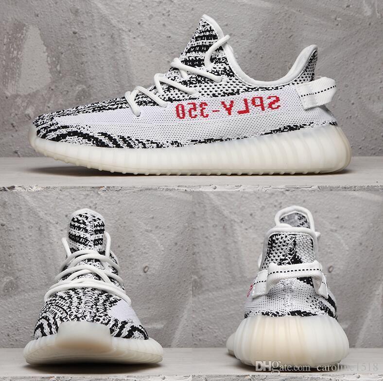 V2 Gerçek Formu Hiperuzay Kil Statik Erkek Ayakkabı Kanye West Krem Beyaz Siyah Beyaz Kadın Moda Spor Sneakers 36-46 Bred Running
