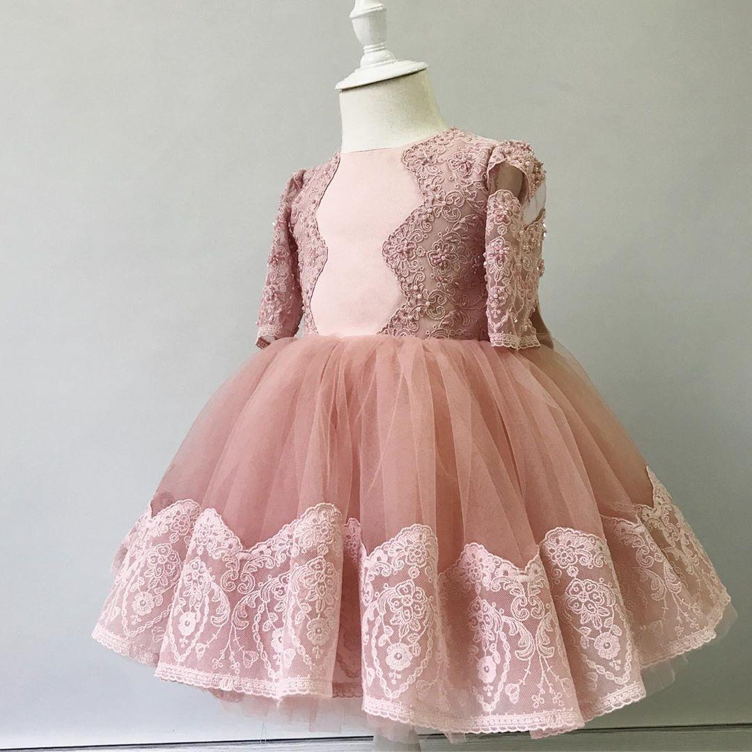 2020 Blush Pink Lace Beaded Flower Girl Dresses Tea Length Little Girl Wedding Dresses Cheap Child Pageant Birthday Gowns FL07