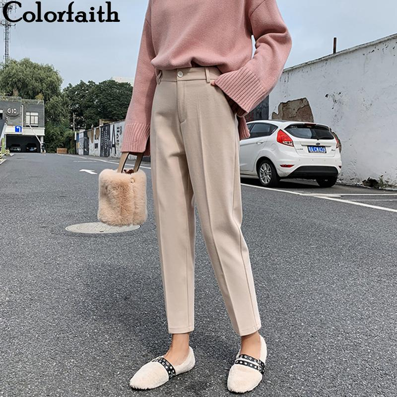 Colorfaith New 2019 Autumn Winter Women Pant High Waist Pocket Korean Style Formal Fashion Ankle-Length Pants Ladies P1536