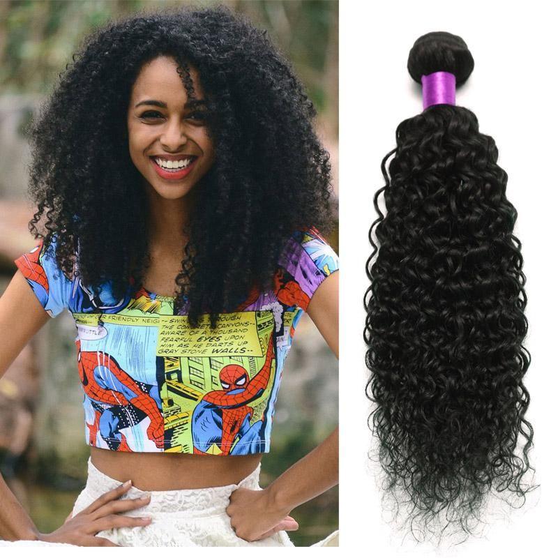 Brasileños pelo rizado Bundles tramas del pelo 3 Paquetes Negro Natural 6a brasileña del cabello humano de la Virgen rizada brasileña Extensiones paquete en venta
