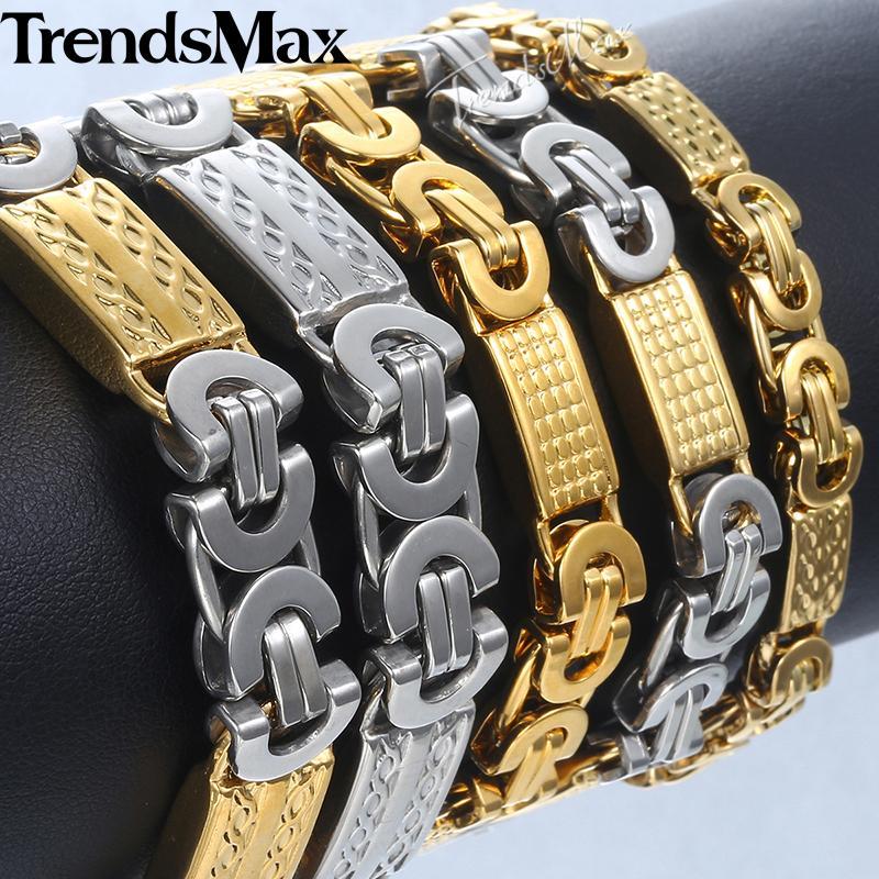 Bracciali Hip Hop degli uomini Silver Gold bizantina Catena bracciale in acciaio inossidabile per i monili Maschile Dropshipping 6/8/11 millimetri KKBB5