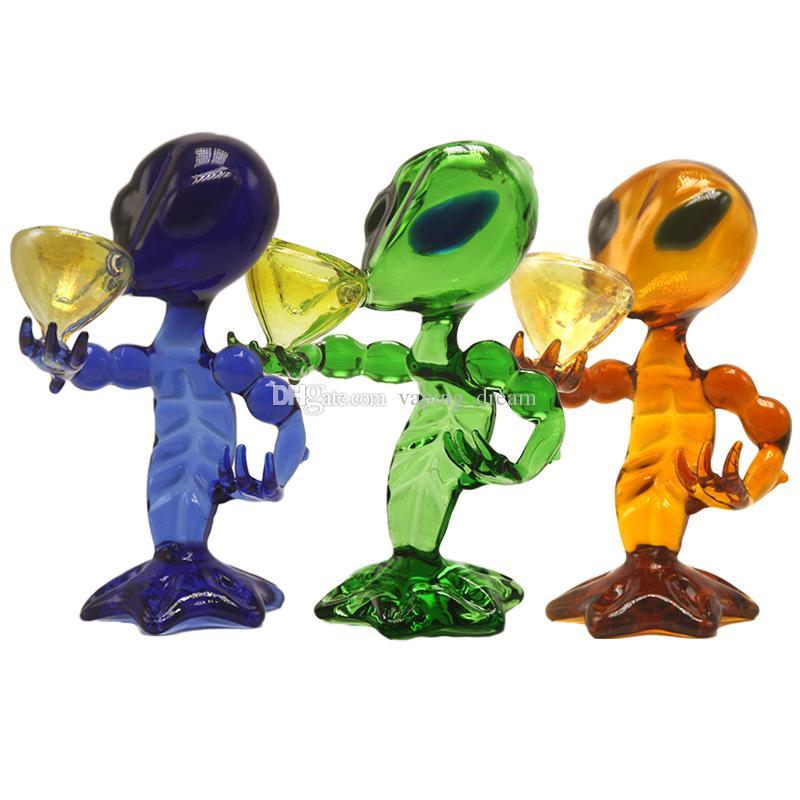 Les tubes de verre en verre Alien Smoking Pipes eau environ 18 cm Hauteur Vert G Spot fumeurs Pipes Dab Rig verre Bong eau Livraison gratuite