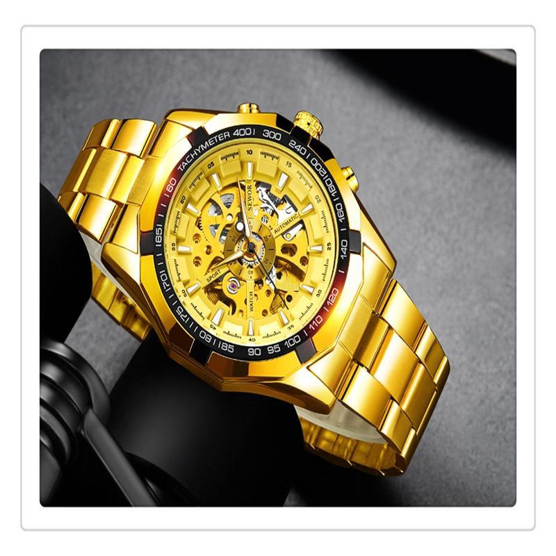 Winner Watch Men Skeleton Automatic Mechanical Watch Gold Skeleton Vintage Man Watch Top Brand Luxury Gift For Christmas