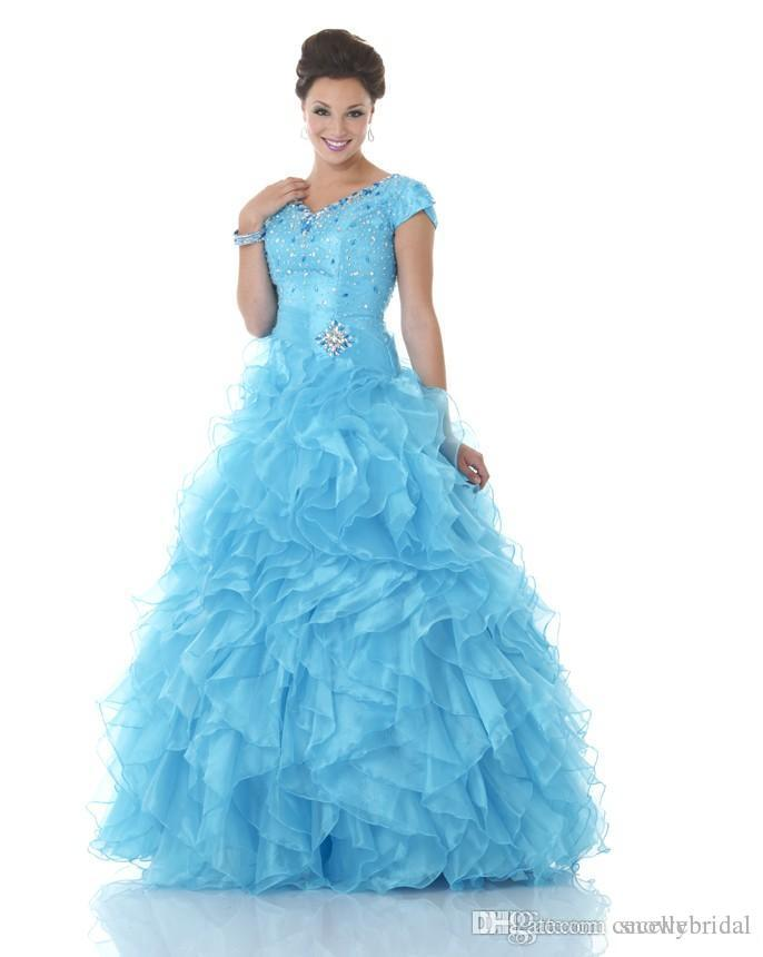 Blue Ruffles Organza Ball Gown Modest Prom Dresses With Short Sleeves Corset Beaded Bodice Formal Prom Gowns Princess Custom Made