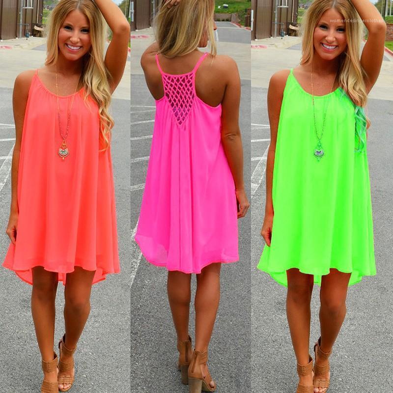 Frauen Designer-Kleid Fluorescence Backless Sommer-Kleider Chiffon Leibchen aushöhlen Damen Kleidung 2020 Solid Color