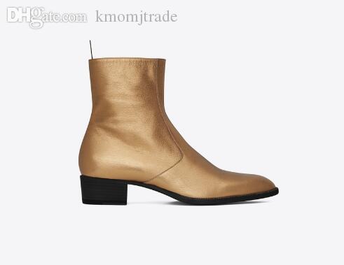 Man Paris Fashion Boots Wyatt mit Reißverschluss Ankle Boots Metallic-Leder Slp Stacked Heel Kanye West Beliebte Schuhe