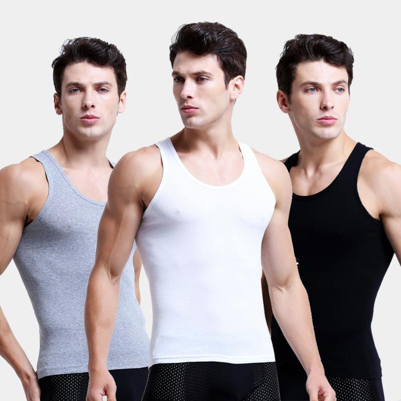 5PCS / 많은 사람의 솔리드 원활한 속옷은 2020 년 캐주얼 의류 남성 민소매 탱크 조끼 편안한 땀받이를 중항