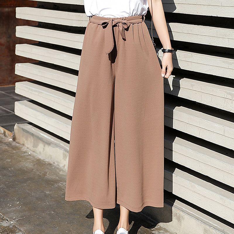 Corea recta ocasional floja elástico pantalones de pierna ancha nueve punto elástico pantalones de cintura alta de la pierna ancha pantalones con estilo