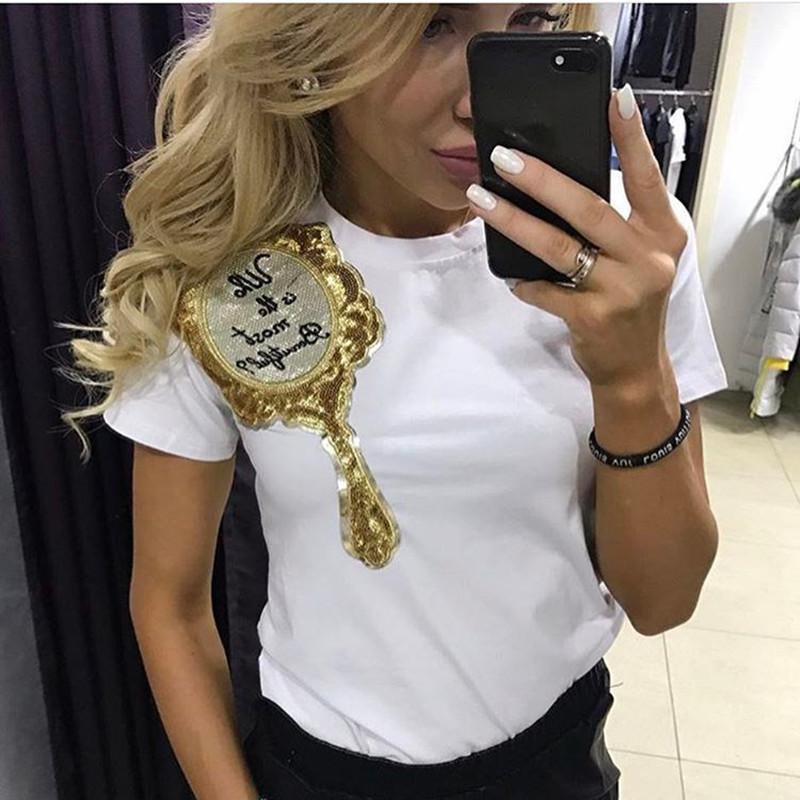 Designer-T-Shirt Schwarz-weiße Stück-Damen Pailletten Magic Mirror Kurz Drucken Hülse beiläufige europäische amerikanische dünne Baumwollkleidung Hemd