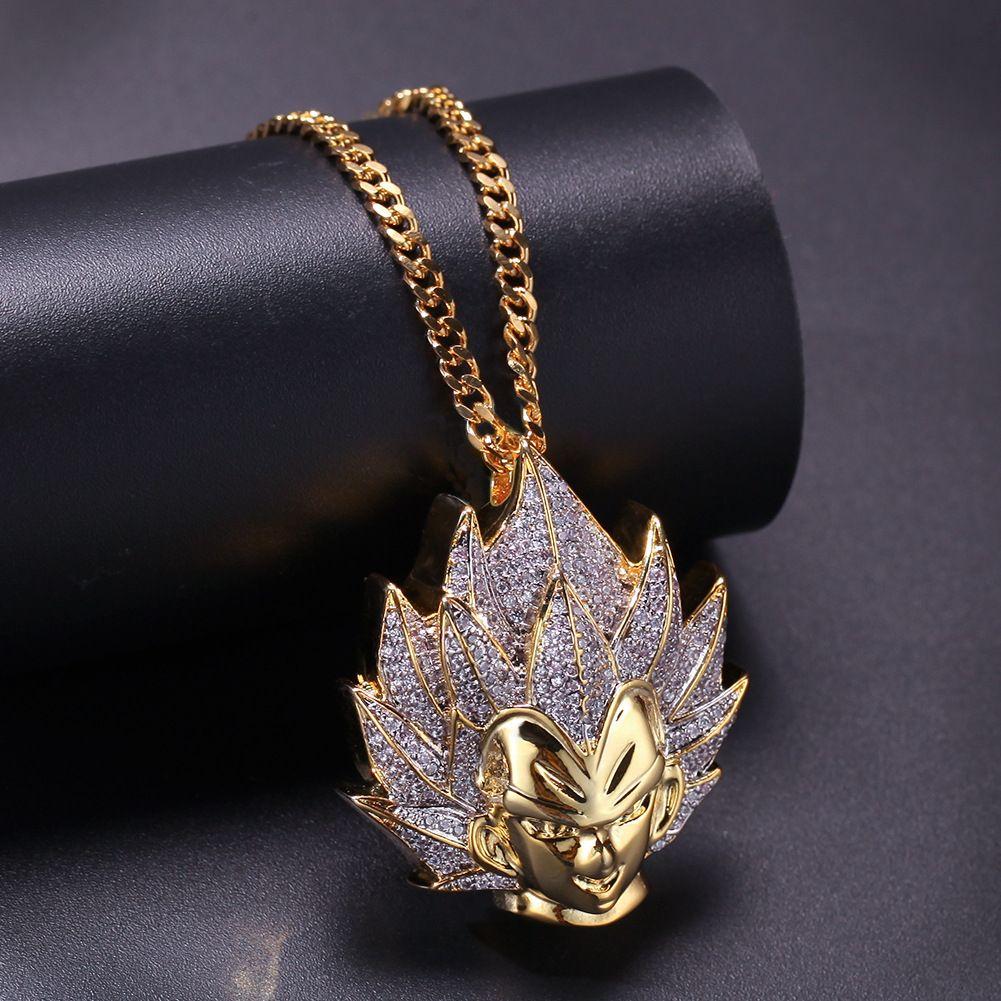 Gold Son Goku avec pendentif en zircon Pendentif Gold Hip Hop Hop Chain Collier pour homme Femmes Fashion Bijoux 2019