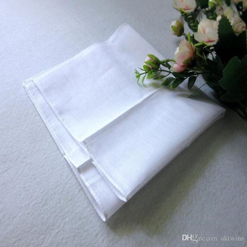 DIY Algodão Branco hankerchiefs High Density Pure White Algodão Lenço Toalha Mens Suit Pure Color bolso Praça WY447Q