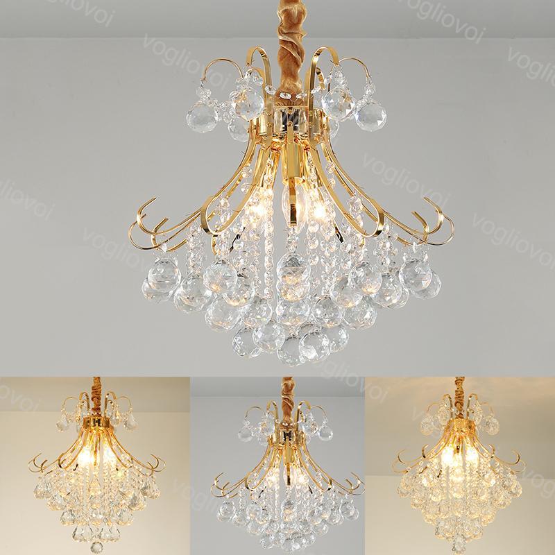 Cristal Chandeliers Modern K9 Golden Ferron Braço 3 Cabeça E14 Pequeno / Médio / Big Home Iluminação Luminária Suspensão Suspensão Living Dining DHL