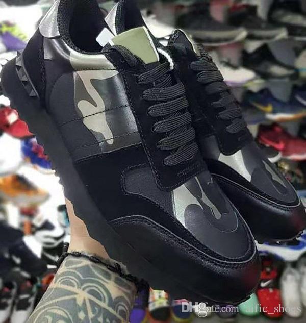 Fashion Designer Rockrunner Camouflage Noir Metallic Sneaker cuir véritable avec Goujons Hommes Femmes Runner Chaussures Couleurs Noir Blanc avec boîte US11