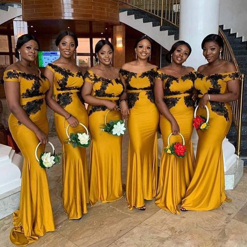2020 African Mermaid Bridesmaid Dresses Plus Size Off Shoulder Yellow With Black Appliques Maid of Honor Dress Customised Prom Gowns
