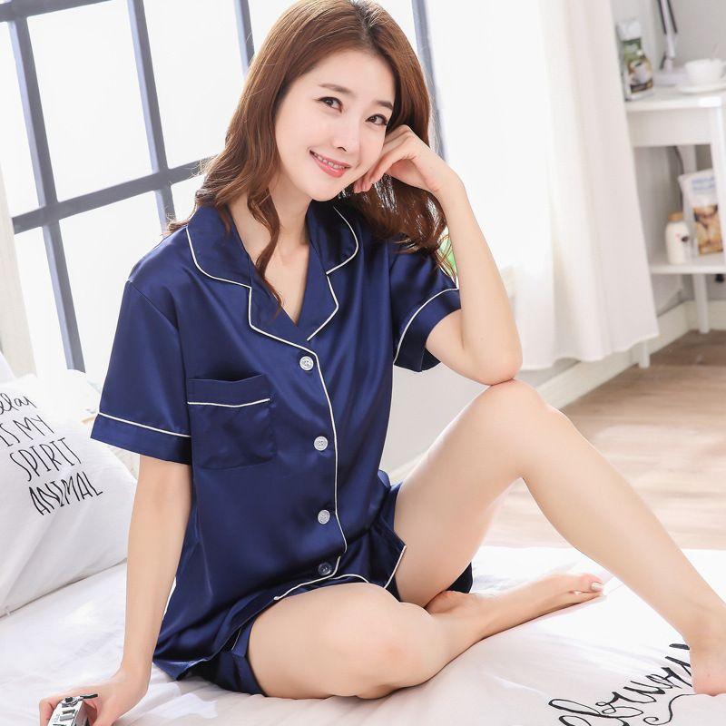 SONG para julio en 2020 Nueva primavera verano de las mujeres de imitación de seda pijamas Set simple color puro ocio ropa de dormir ropa de dormir de manga corta