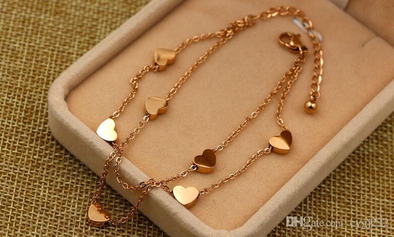 Korean fashion love seven hearts rose gold double bracelet tide women titanium steel rose gold jewelry