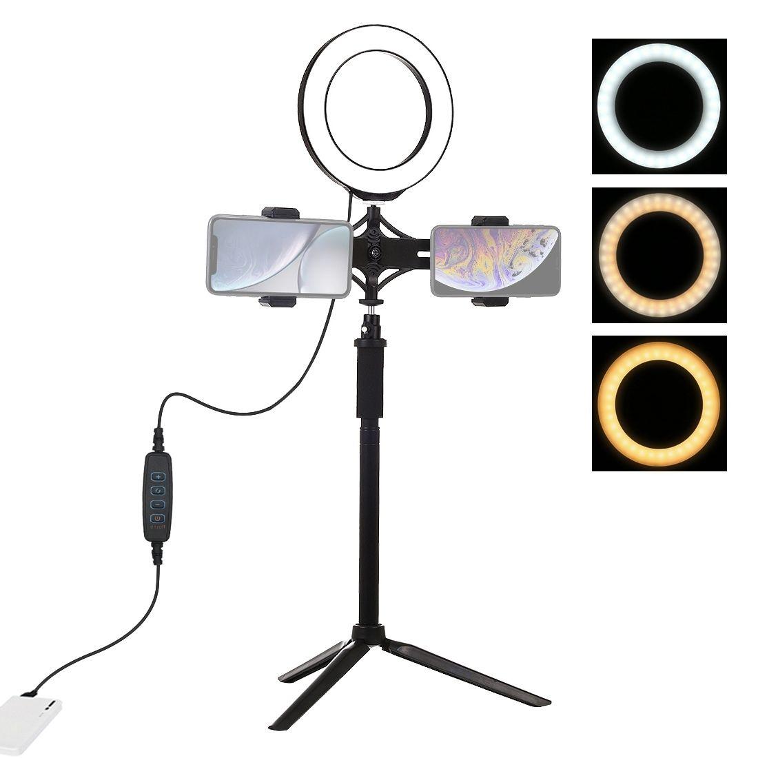 PULUZ جبل ترايبود + تمديد رود + بث مباشر المزدوج الهاتف القوس + 6.2 بوصة 16CM LED الدائري مشاركة في مدونة فيديو فيديو ضوء أطقم