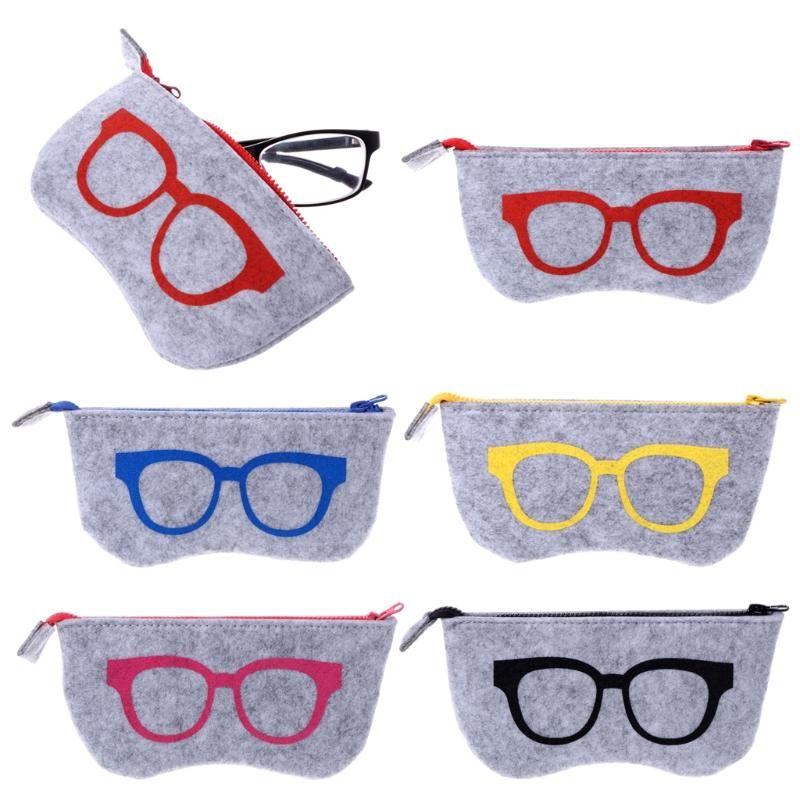 الصوف ورأى زيبر النظارات الشمسية العين حقيبة نظارات صندوق SunglassesPouch تخزين حالة حامي حقيبة أزياء فيلت إكسسوارات نظارات