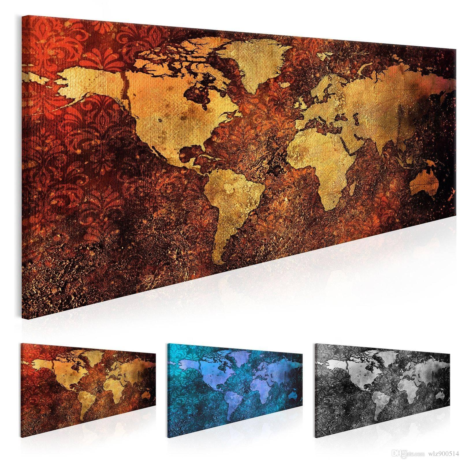 ( No Frame ) World Map Decoration Oil Painting Canvas Art Map Picture for Home Wall Decoration Art Picture (Multicolor)