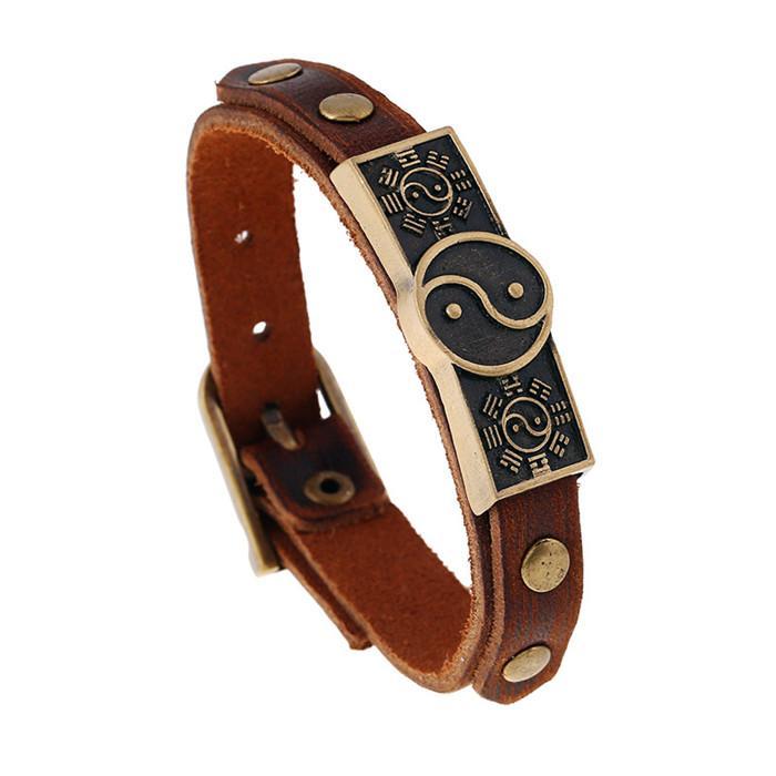 20 styles Bracelet Real Cow Leather Cuff Wrap Bangles Men's Belt Buckle Bracelet Hand Jewelry Couple Distance Bracelet Male pksp4-5