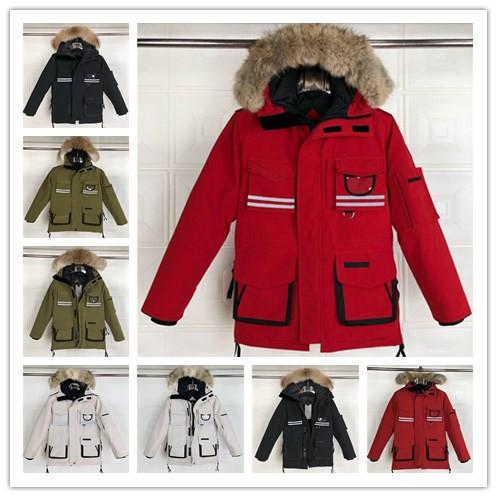 mens designer jackets luxury winter coats hoodie parka cold snow reflective white black warm canadian wolf fur collar down coats down jacket