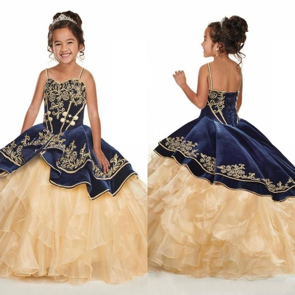 Navy Blue With Gold Embroidery Girls Pageant Dresses Layer Champagne Ruffles Cute Flower Girl Dress Spaghetti Strap Toddler Kids Dress